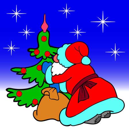 Santa Claus blowing dress up a Christmas tree balls Vector
