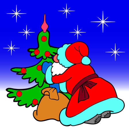 Santa Claus blowing dress up a Christmas tree balls Stock Vector - 10908226