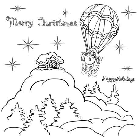 Cheerful Santa Claus goes down from the sky on a parachute. Christmas illustration. Illustration