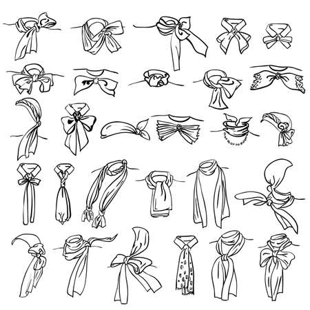 shawl: set of different neckerchiefs tied in different ways Illustration