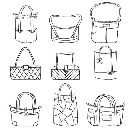 fabric bag: vector collection of woman