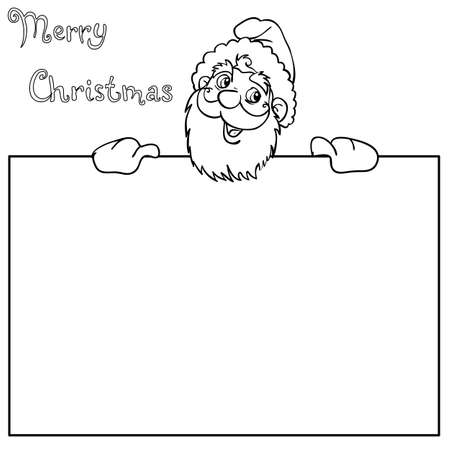 Happy Santa Claus over white blank Vector
