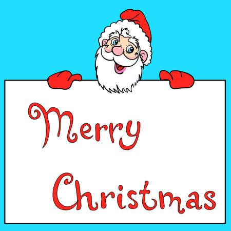 Happy Santa Claus over white blank Stock Vector - 10908229