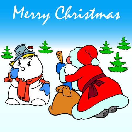 Santa Claus makes a carrot nose snowman Vector