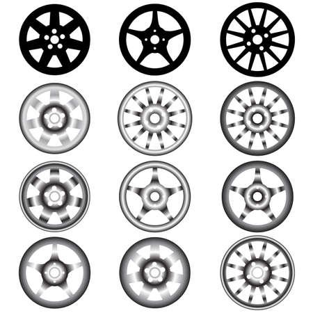 automotive wheel with alloy wheels Stock Vector - 10960804
