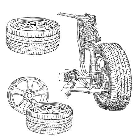 alloy wheel: race car shock absorber and wheel.