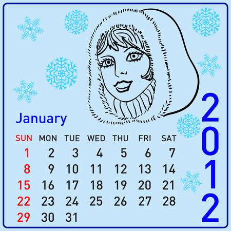 year january: 2012 year calendar beautiful girls at different times of the year. January Illustration