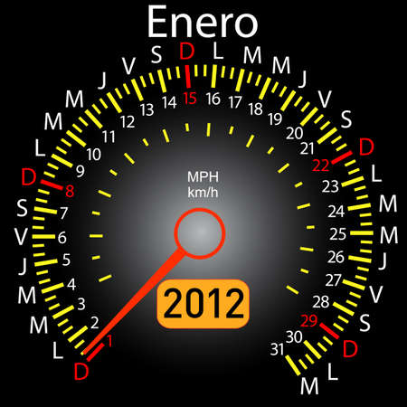 2012 year calendar speedometer car in Spanish. January Vector