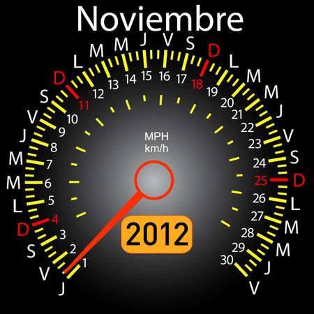 2012 year calendar speedometer car in Spanish. November Stock Vector - 10960840