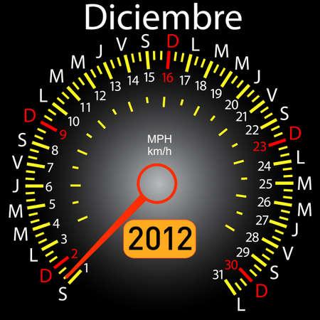 2012 year calendar speedometer car in Spanish. December Stock Vector - 10960844
