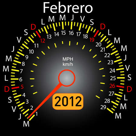 2012 year calendar speedometer car in Spanish. February Vector