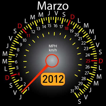2012 year calendar speedometer car in Spanish. March Stock Vector - 10960838
