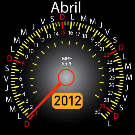 2012 year calendar speedometer car in Spanish. April Vector