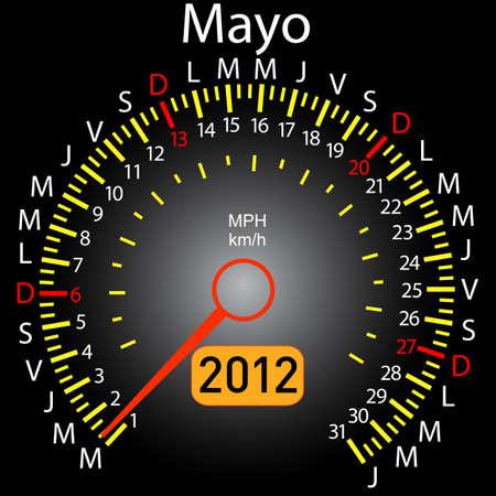 2012 year calendar speedometer car in Spanish. May Stock Vector - 10960841