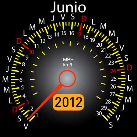 2012 year calendar speedometer car in Spanish. June Stock Vector - 10960835