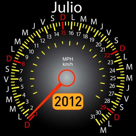 2012 year calendar speedometer car in Spanish. July Vector