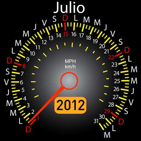 2012 year calendar speedometer car in Spanish. July Stock Vector - 10960836