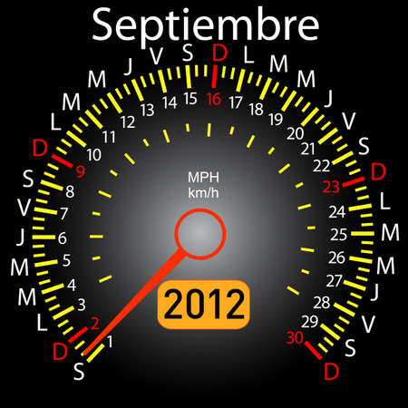 2012 year calendar speedometer car in Spanish. September Stock Vector - 10960843