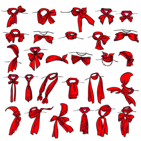 woman tie: set of different neckerchiefs tied in different ways Illustration