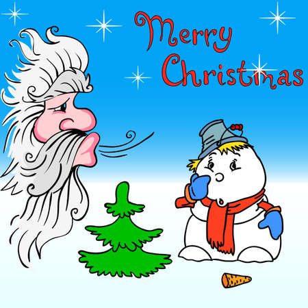 Santa Claus and snowman blows on Vector
