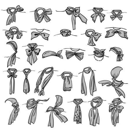 shawl: set van verschillende halsdoeken vastgebonden op verschillende manieren