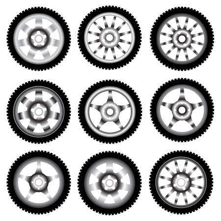 automotive wheel with alloy wheels  Stock Vector - 10960845