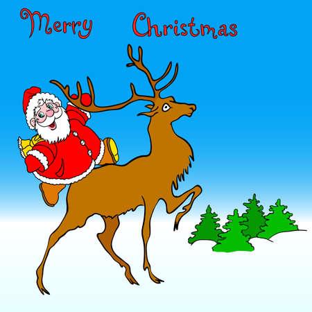 santa claus rides on deer Stock Vector - 10960856