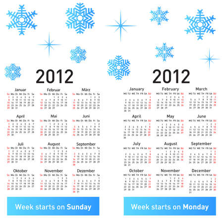 Stylish German calendar with snowflakes for 2012. In German and English. Vector
