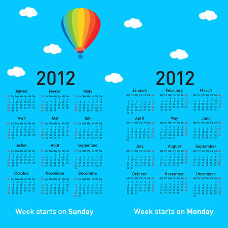 Stylish French calendar with balloon and clouds for 2012. In French and English. Vector