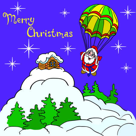 Cheerful Santa Claus goes down from the sky on a parachute. Christmas illustration. Vector