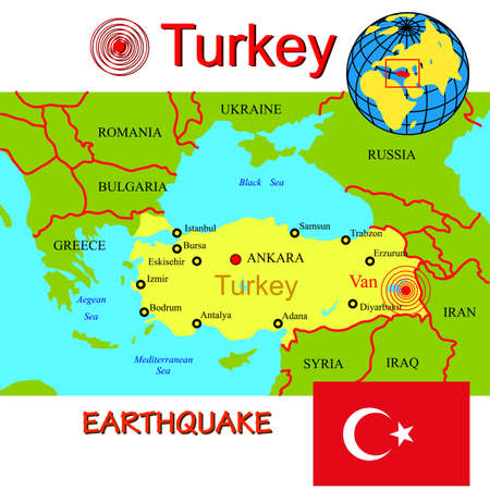 Turkey map with epicenter earthquake. Vector