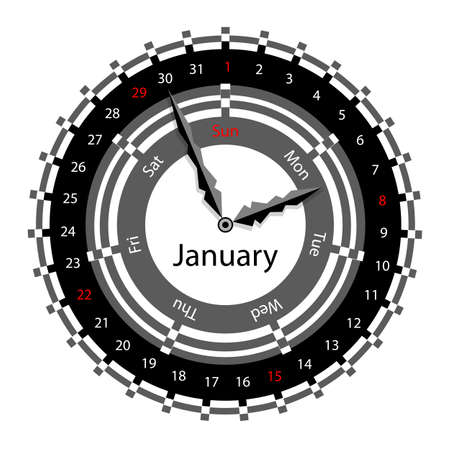 Creative idea of design of a Clock with circular calendar for 2012.  Arrows indicate the day of the week and date. January Vector
