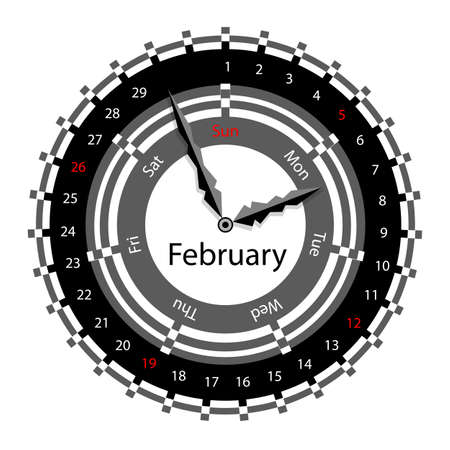 Creative idea of design of a Clock with circular calendar for 2012.  Arrows indicate the day of the week and date. February Vector