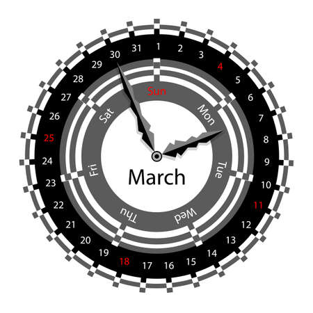 Creative idea of design of a Clock with circular calendar for 2012.  Arrows indicate the day of the week and date. March Vector