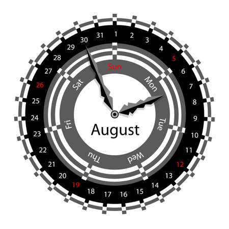Creative idea of design of a Clock with circular calendar for 2012.  Arrows indicate the day of the week and date. August Vector