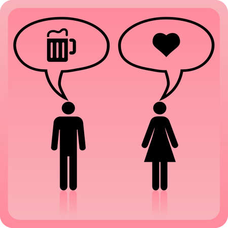 gender: Woman icon over pink background, the concept of different  thought.