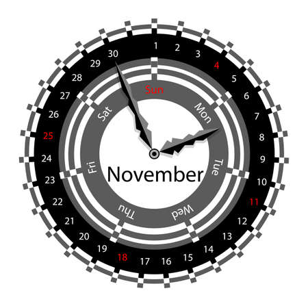 Creative idea of design of a Clock with circular calendar for 2012.  Arrows indicate the day of the week and date. November Vector