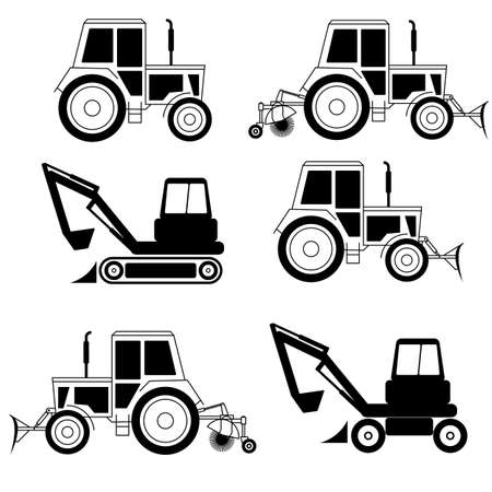 dredger: vector excavator end bulldozer isolated on white