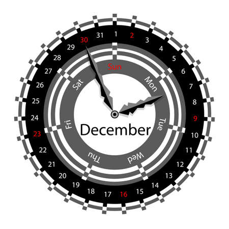 Creative idea of design of a Clock with circular calendar for 2012.  Arrows indicate the day of the week and date. December Vector