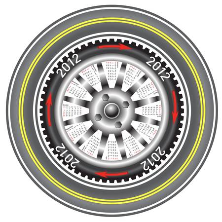 Calendar 2012 year  wheel car.  Vector