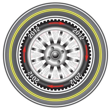 Calendar 2012 year  wheel car. Stock Vector - 11010723