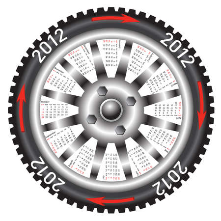 Calendar 2012 year  wheel car. Stock Vector - 11010722