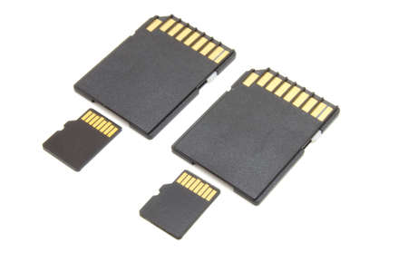 digital memory: Secure Digital memory cards on white background
