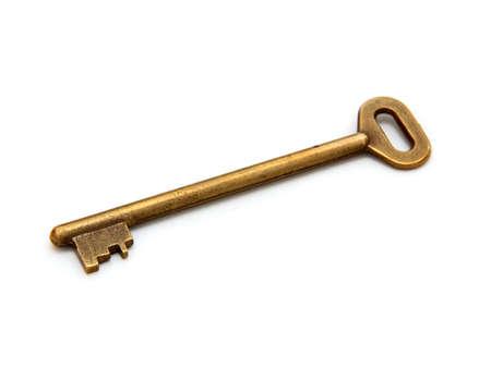 old golden key on white background Stock Photo - 11090058