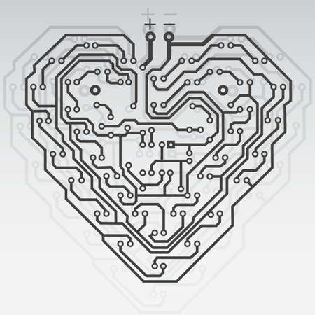 electronic components: Circuit board pattern in the shape of the heart. Illustration. Vector.