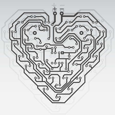 Circuit imprimé motif en forme de coeur. Illustration. Vecteur.