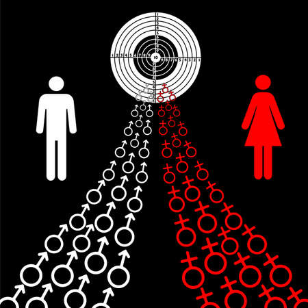 illustration of male and female sex symbols tend toward the goal. Illustration