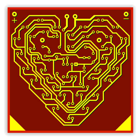 Circuit board pattern in the shape of the heart. Illustration. Vector. Stock Vector - 11171906
