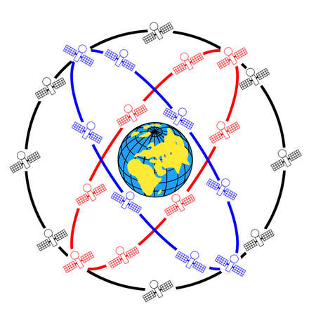 Space satellites in eccentric orbits around the Earth. Vector