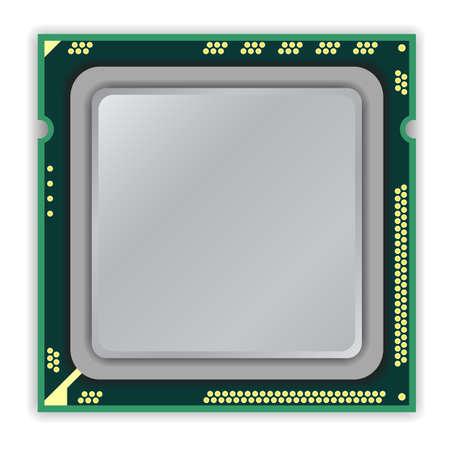 micro chip: The modern multi core   processor CPU computer Illustration